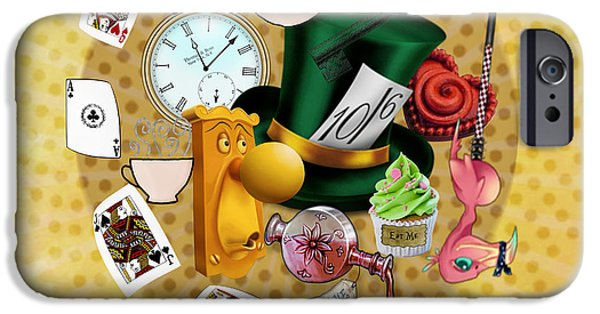 Mad Hatter iPhone Cases - All about Alice iPhone Case by Gillian Singleton