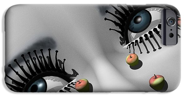 Surrealism Digital Art iPhone Cases - All about Eve - after Man Ray iPhone Case by Joseph Fraizer