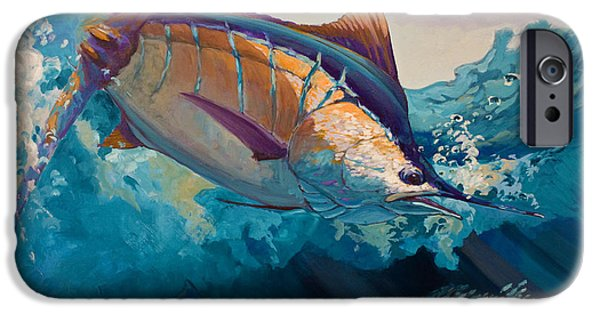 Marlin iPhone Cases - All Ahead Flank iPhone Case by Mike Savlen