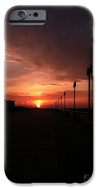 Reflection Of Sun In Clouds iPhone Cases - All Along the Boardwalk iPhone Case by John Telfer