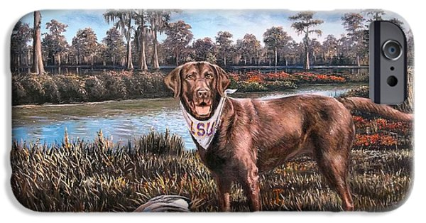 Chocolate Lab iPhone Cases - All American Chocolate Lab iPhone Case by Mike Roberts