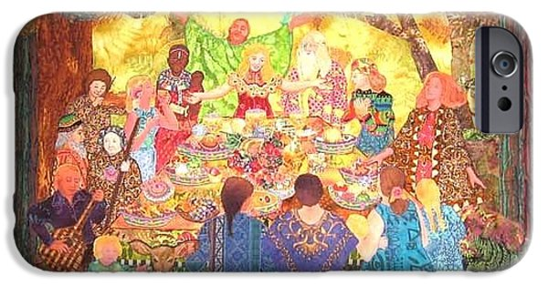 People Tapestries - Textiles iPhone Cases - All Are Welcome At Our Table iPhone Case by Carol Bridges