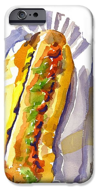 Baseball Stadiums Paintings iPhone Cases - All Beef Ballpark Hot Dog with the Works to Go in Broad Daylight iPhone Case by Kip DeVore