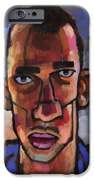 Figures Paintings iPhone Cases - All Blues iPhone Case by Douglas Simonson