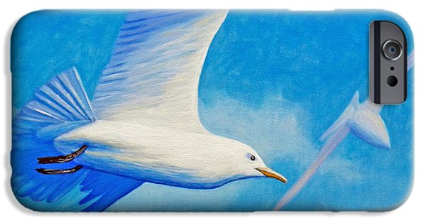 Seagull Paintings iPhone Cases - All Fly Home iPhone Case by Brian  Commerford