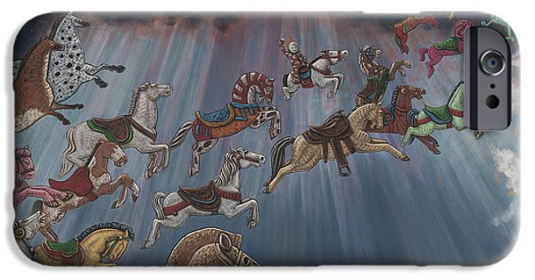 Carousel Horse Paintings iPhone Cases - All Good Horses go to Heaven iPhone Case by Holly Wood