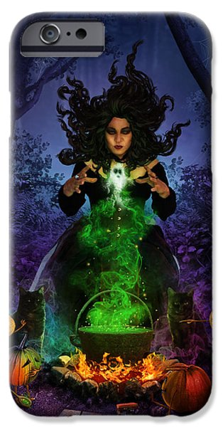 Phantasie Digital Art iPhone Cases - All Hallows Eve iPhone Case by Cassiopeia Art