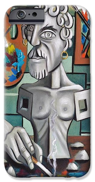 Statue Portrait iPhone Cases - All In A Days Work Self Portrait iPhone Case by Anthony Falbo