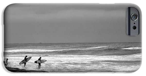 La Jolla Surfers iPhone Cases - All in Black and White iPhone Case by Peter Tellone