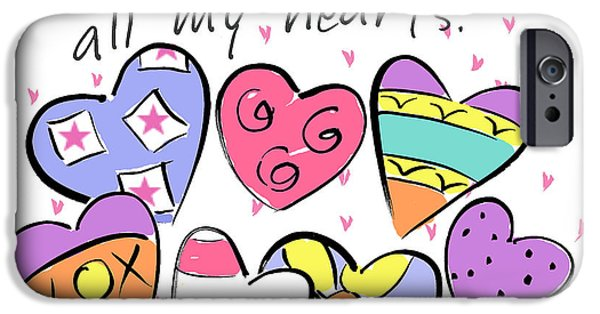 Sally Huss iPhone Cases - All My Hearts iPhone Case by Sally Huss