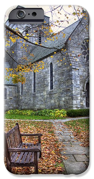 New Hampshire Fall Scenes iPhone Cases - All Saints Church - Peterborough NH iPhone Case by Joann Vitali