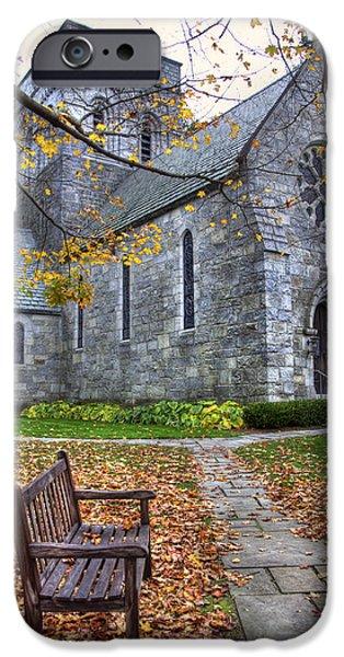 Autumn Scenes iPhone Cases - All Saints Church - Peterborough NH iPhone Case by Joann Vitali