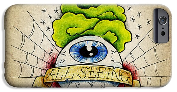 Old Blue Eyes iPhone Cases - All Seeing Eye iPhone Case by Samuel Whitton