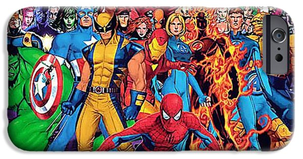 Concept Paintings iPhone Cases - All Superheroes iPhone Case by Victor Gladkiy