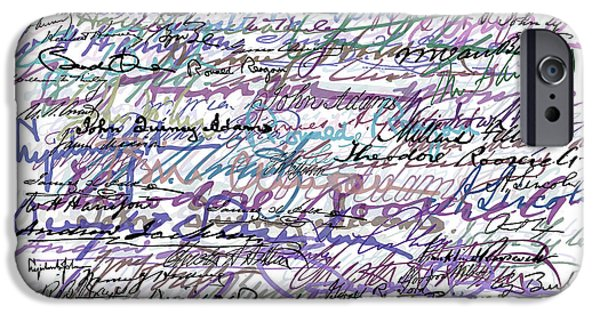 White House Mixed Media iPhone Cases - All The Presidents Signatures Blue Rose iPhone Case by Tony Rubino