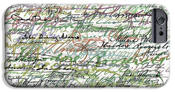 White House Mixed Media iPhone Cases - All The Presidents Signatures Green Sepia iPhone Case by Tony Rubino