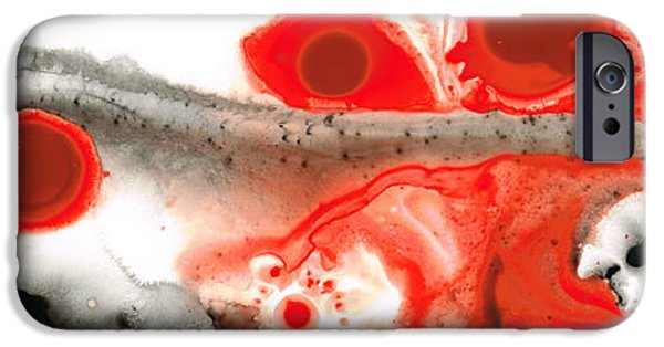 Red And Black iPhone Cases - All Things Considered - Red Black And White Art iPhone Case by Sharon Cummings