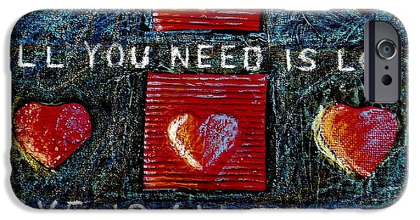 Cardboard Mixed Media iPhone Cases - All You Need Is Love 3 iPhone Case by Gerry High