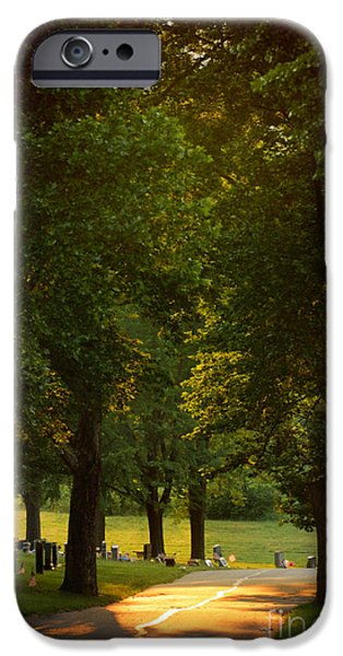 Graveyard Road iPhone Cases - Allegheny Cemetery at Sunset iPhone Case by Amy Cicconi