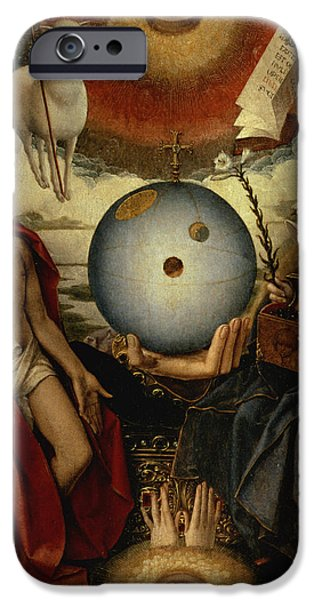 Symbol Photographs iPhone Cases - Allegory Of Christianity Oil On Panel iPhone Case by Jan II Provost