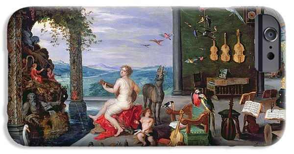 Lute iPhone Cases - Allegory Of Music Oil On Canvas iPhone Case by Jan the Elder Brueghel
