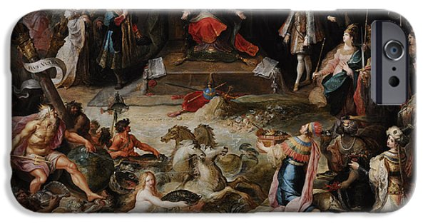 Interior Scene iPhone Cases - Allegory Of The Abdication Of Emperor Charles V In Brussels, C.1630-1640, By Frans Francken iPhone Case by Bridgeman Images
