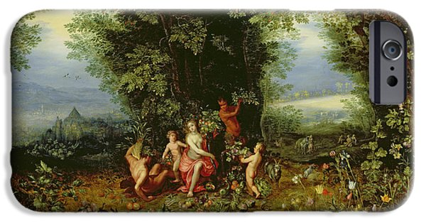 Allegory iPhone Cases - Allegory of the Earth iPhone Case by Brueghel and Balen