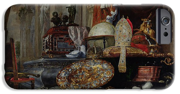 Breastplate iPhone Cases - Allegory Of The Vanities Of The World, 1663 Oil On Canvas iPhone Case by Pieter or Peter Boel