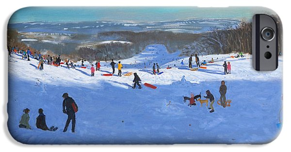 Winter Sports Paintings iPhone Cases - Allestree Park Derby iPhone Case by Andrew Macara