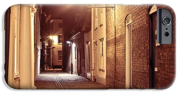 Night Lamp iPhone Cases - Alley at night iPhone Case by Tom Gowanlock