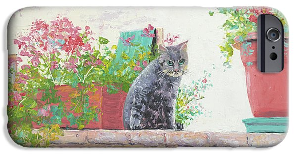 Garden Scene Paintings iPhone Cases - Alley Cat iPhone Case by Jan Matson