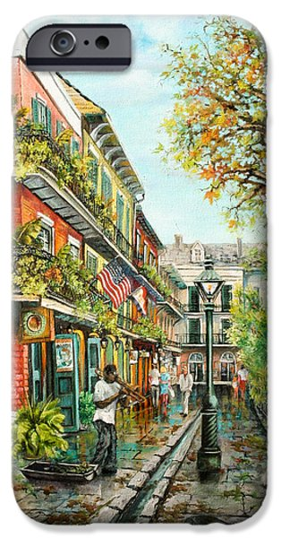 Alley Paintings iPhone Cases - Alley Jazz iPhone Case by Dianne Parks