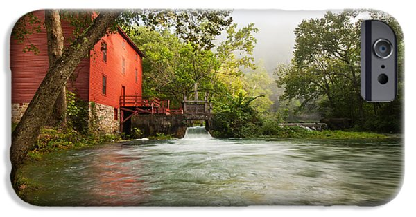 Grist Mill iPhone Cases - Alley Spring Grist Mill Waterfall and Lake iPhone Case by Gregory Ballos