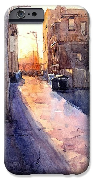 Sun Rays Paintings iPhone Cases - Alley Sunset iPhone Case by Max Good