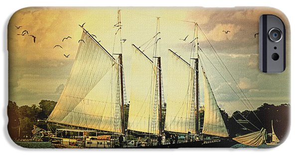 Yorktown iPhone Cases - Alliance Schooner  iPhone Case by Olahs Photography
