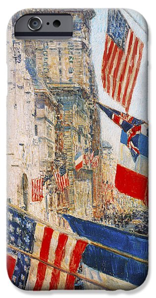 Childe iPhone Cases - Allies Day May 1917 iPhone Case by Childe Hassam