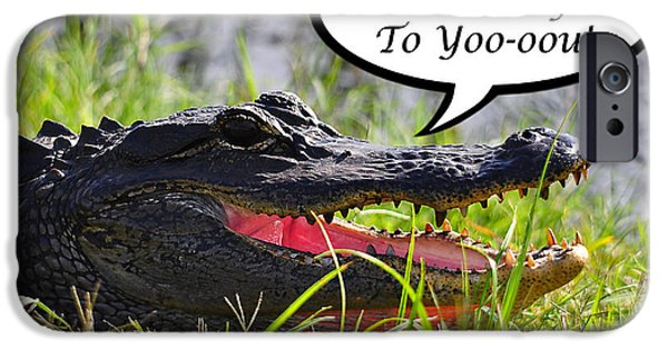 Florida Gators iPhone Cases - Alligator Birthday Card iPhone Case by Al Powell Photography USA
