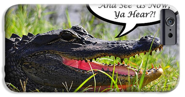 Florida Gators iPhone Cases - Alligator Yall Come Back Card iPhone Case by Al Powell Photography USA