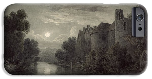 River iPhone Cases - Allington Castle, Near Maidstone, Kent; Moonlight iPhone Case by James Bayes