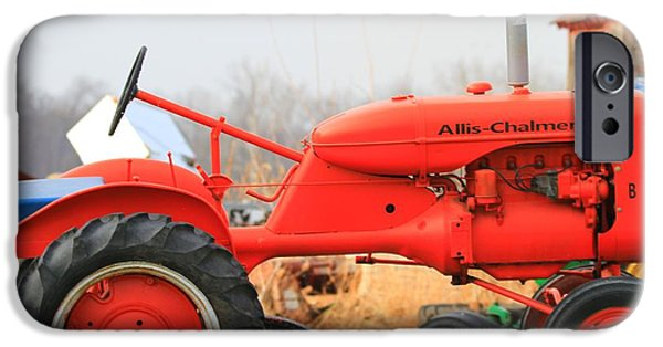 Mower iPhone Cases - Allis Chalmers Red Mower iPhone Case by Dan Sproul