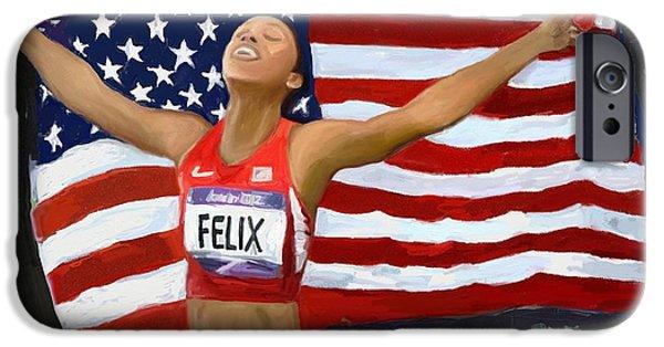 Tracks Pastels iPhone Cases - Allison Felix Olympian Gold Metalist iPhone Case by Vannetta Ferguson