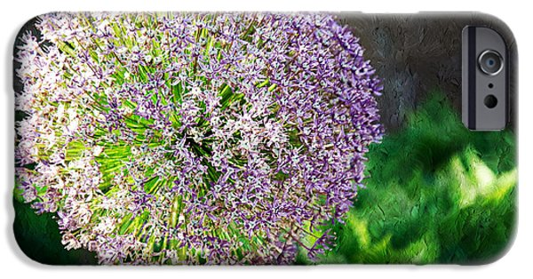 Purple Sensation iPhone Cases - Allium Hollandicum Purple Sensation Painterly iPhone Case by Andee Design