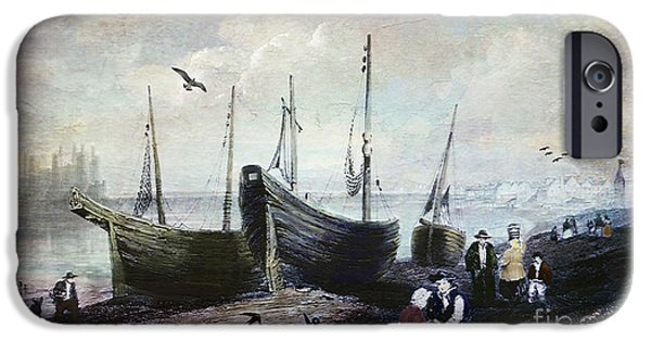 Quaker iPhone Cases - Allonby - Fishing Village 1840s iPhone Case by Lianne Schneider