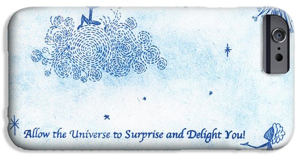 Drypoint iPhone Cases - Allow the Universe to Surprise and Delight You iPhone Case by Simone St John