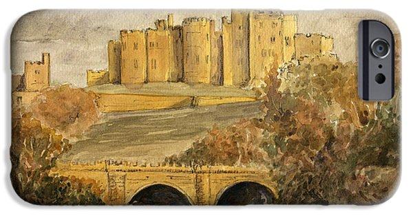 Ruin iPhone Cases - Alnwick Castle iPhone Case by Juan  Bosco