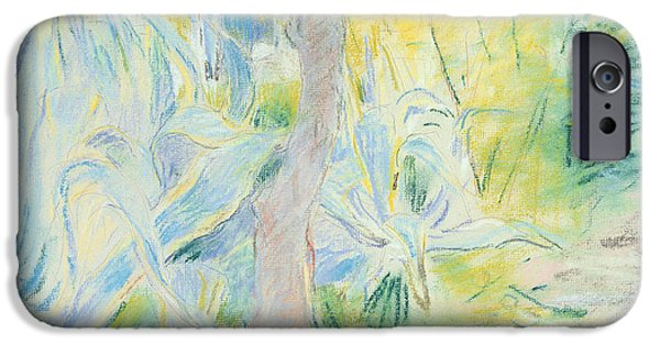 Plant Pastels iPhone Cases - Aloes at Villa Ratti iPhone Case by Berthe Morisot