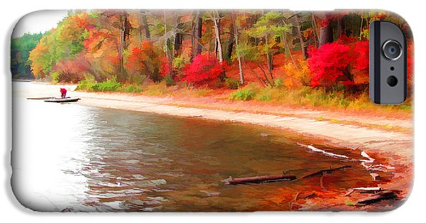 Walden Pond iPhone Cases - Alone at Walden Pond iPhone Case by Tom Christiano