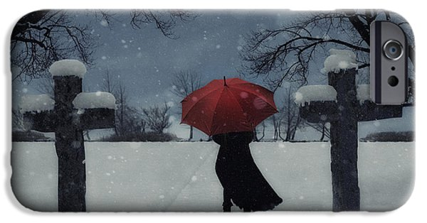 Eerie iPhone Cases - Alone In The Snow iPhone Case by Joana Kruse