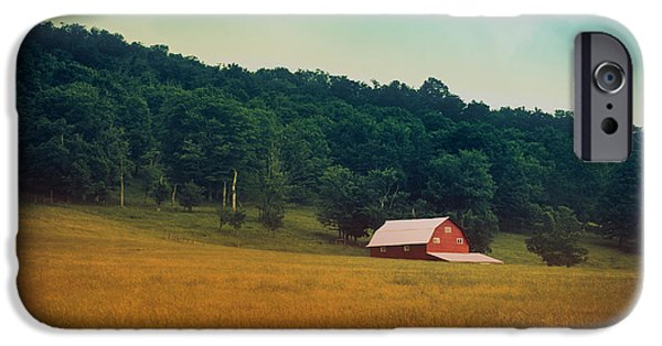Red Barn iPhone Cases - Along A Country Road iPhone Case by Shane Holsclaw