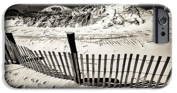 Sand Fences iPhone Cases - Along the LBI Dune Fence iPhone Case by John Rizzuto